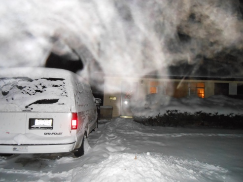 House drive way at night wind whipping up